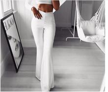 Women Long Pants Fashion Sexy Trousers Solid Elastic Leggings Bell-bottoms Pants High Waisted Cargo Pants Women pantalon femme high waisted knitted bell bottom pants