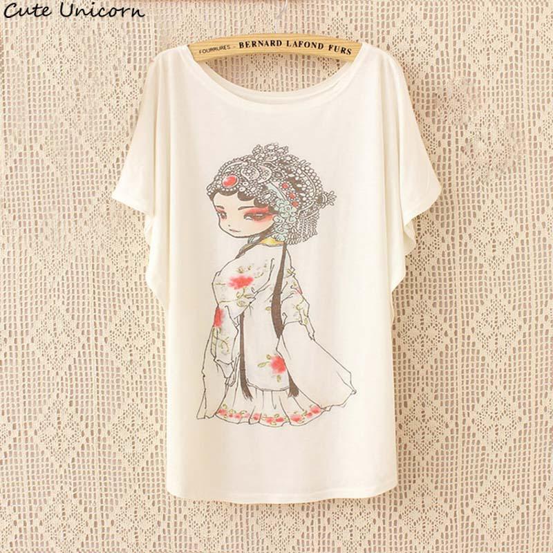Traditional Fashion Beijing opera Chinoiserie Casual comfortable shirt Summer Cute Shirt Short Sleeve look thin bat Women Tops