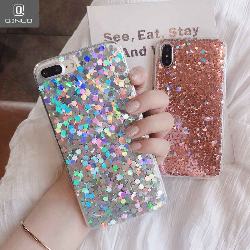 QINUO Shining Powder Sequins Case For iphone 7 Plus 8 X Fashion Glitter Soft Case For iphone 6 6s 7 Plus Cases Back Cover Coque