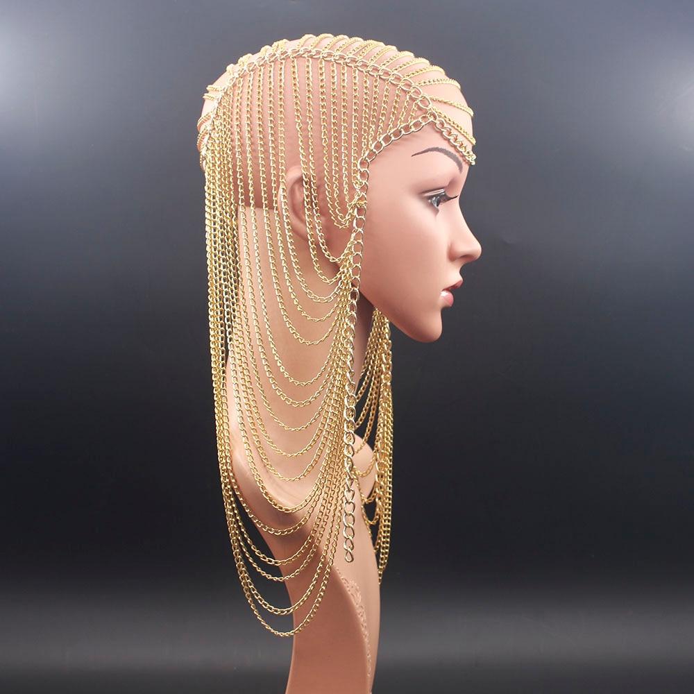 Цепочка для волос с длинной кисточкой Женская, роскошная цепочка из цельнометаллической цепи золотого цвета в стиле панк, вечерние ний и св...