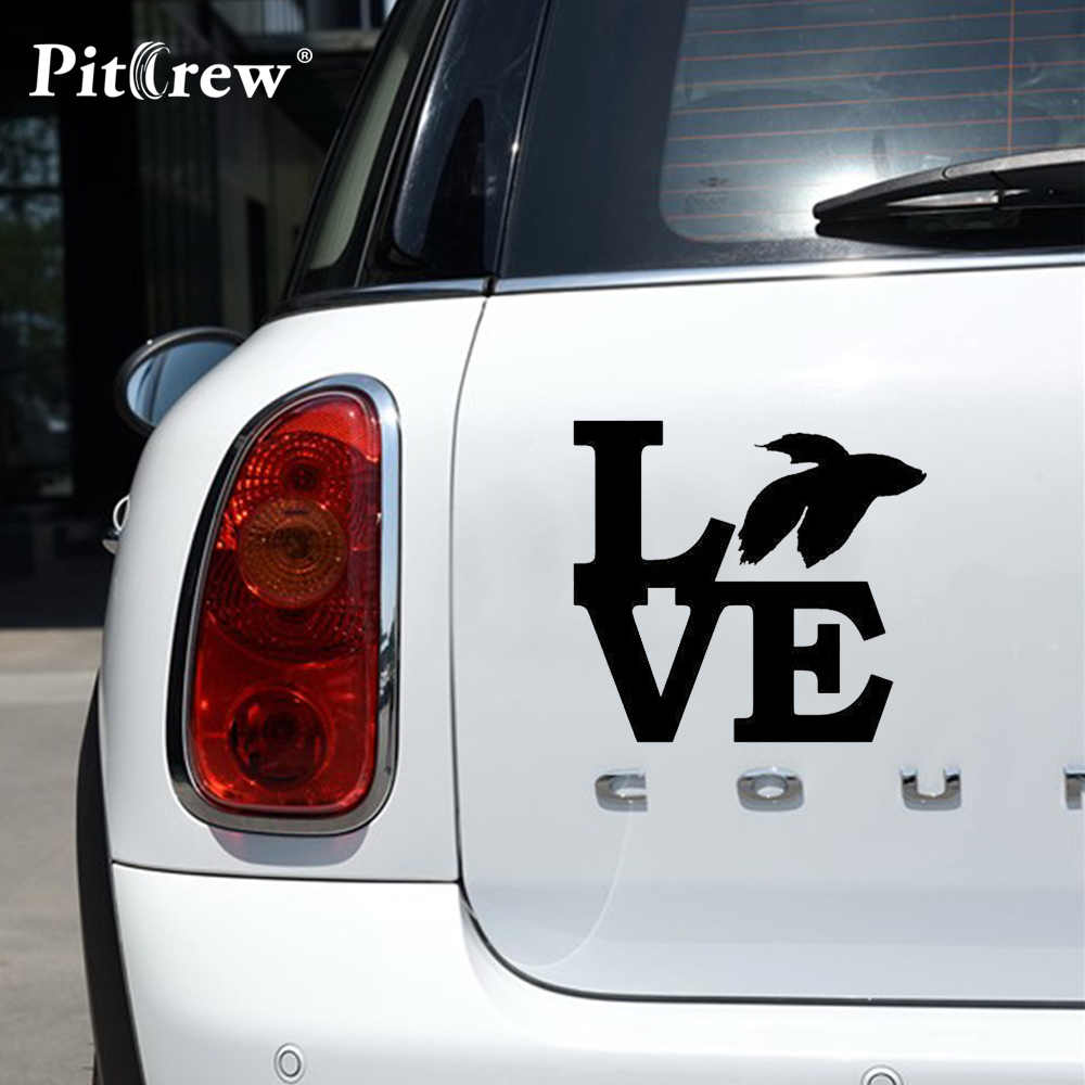 1PC High Quality 13.8*12.6cm Betta Love Fashion Car Stickers Decals Vinyl Car-Styling for Car Accessores