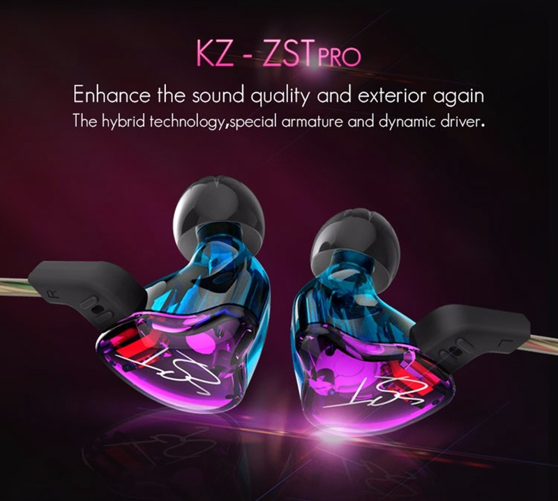 KZ-ZST Dazzle Colour Earphone Heavy Bass In-ear Headphone Hifi Auriculares Hybrid Headset Running Sport Wired Dual-Driver Earbud(6)