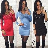 Autumn women V-neck diamonds black dresses long sleeve casual female sheath dress mini sky blue dresses