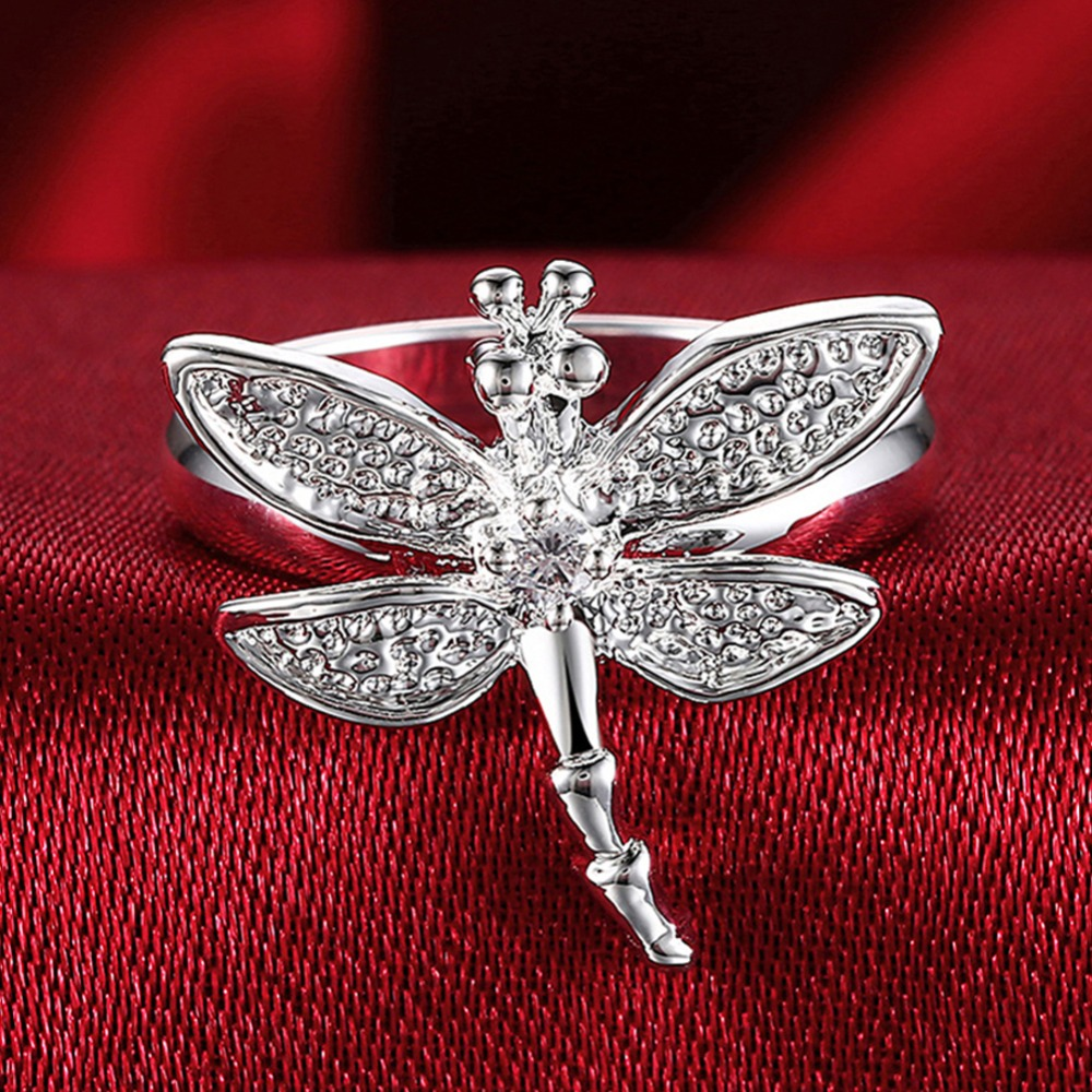 Hot Sale 925 Silver Rings Insect Dragonfly <font><b>Crystal</b></font> Rings For Women Girl Silver Color Rings Wedding Jewelry Gifts image