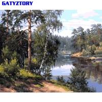 Gatyztory frameless floresta diy pintura por número kit pintura acrílica sobre tela pintura caligrafia pintada à mão para decorações de casa|Pintura e Caligrafia| |  -