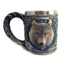 Punto de comercio exterior nuevo estéreo 3D resina lobo animal de la historieta taza de acero inoxidable vidrio taza de consumición de regalo