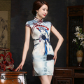 DJGRSTER 2017 spring Women Cheongsam Chinese Vestido Female High Neck Bodycon Chi-paoBeijing Opera facebook Sexy qipao Dresses