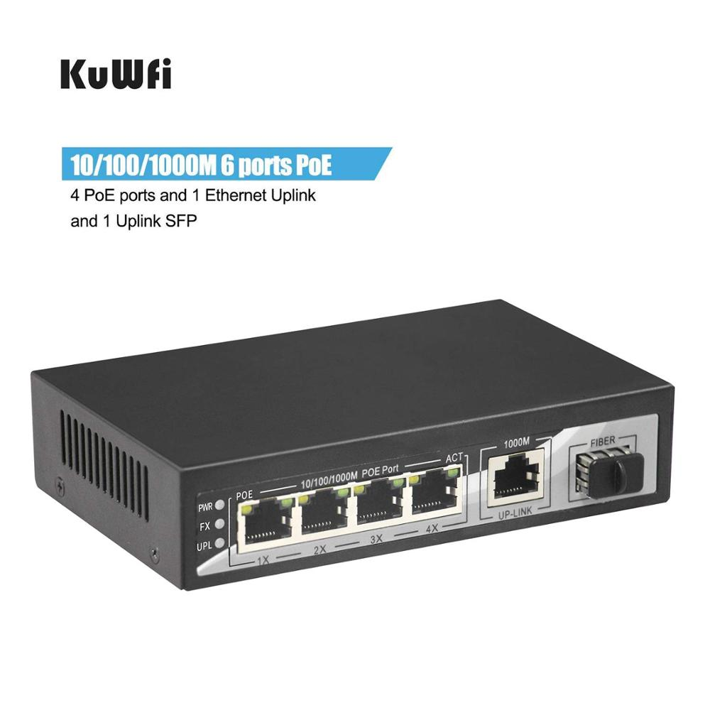 Commutateur réseau POE 1000 Mbps commutateur Gigabit 6 Ports Ethernet 4*10/100/1000 Mbps Port POE capacité de commutation 10 Gbps Plug Play