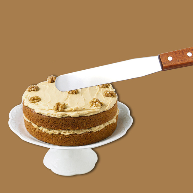6 Inch Stainless Steel Spatula Cake Decorating Wooden Handle Cake ...