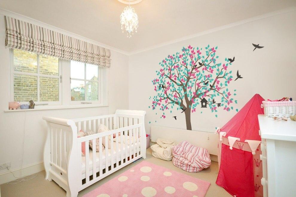 Grand grand arbre avec oiseaux Stickers muraux e-co amical vinyle sticker Mural pour chambre d'enfants étanche papier peint décor à la maison Mural D979C
