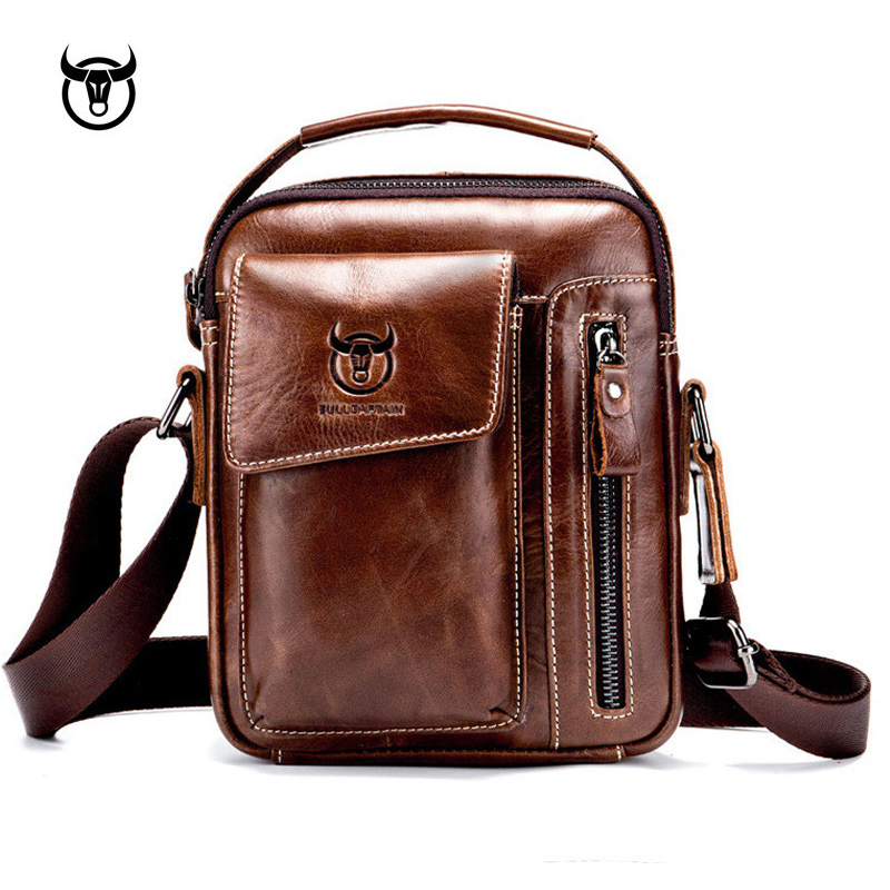Genuine Leather men's Crossbody bag Vintage cow leather man Messenger Bags Small Shoulder bag for male Casual handbag