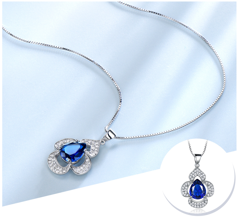 UMCHO-Blue Sapphire 925 sterling silver necklace for women EUJ090S-1 (5)