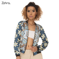 Zohra Retro Style Women Bomber Jacket Mandala Yellow Flowers Printing Jaqueta Feminina High Quality Basic Jacket