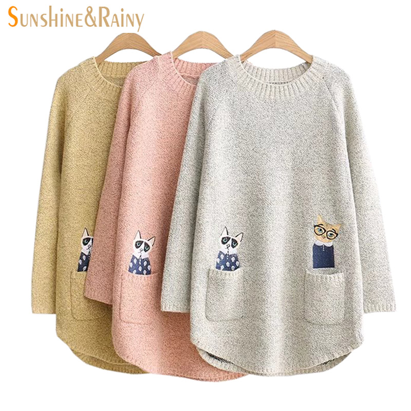 Autumn Winter Women Long Sleeve POCKET CAT  embroidery Splice  Casual Pullover underwear Sweaters For Girls Pullovers Tops