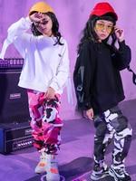 New High Quality 2019 Children's Street Dance Set Girls Jazz Dance Practice Children's Hip Hop Camouflage Pants Dance Costumes