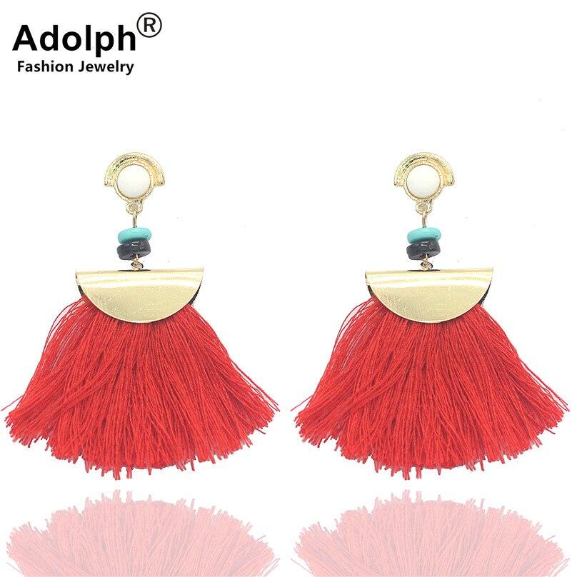SALE ADOLPH Jewelry Geometry Tassel Stud Earring Woman Bohemia Trendy Handmade Earrings Female Ethnic Fashion Accessories Hot