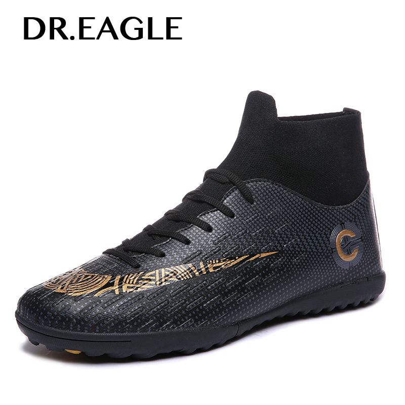 DR.EAGLE Adult High Ankle Football Boots for Kids Turf TF Soccer Shoes Indoor Socks Football Shoes Crampons Sport Sneaker