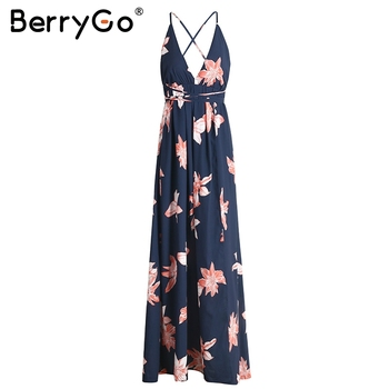 BerryGo Boho deep v neck backless long women dress Chiffon split cross lace up summer dress Sleeveless beach maxi dress vestidos 3