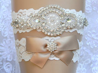 Groothandel Wedding Garter Set Lace Bloem Bridal Garter Parel en Strass Kousenband en Toss Kousenband Set Bruiloft Accessoires