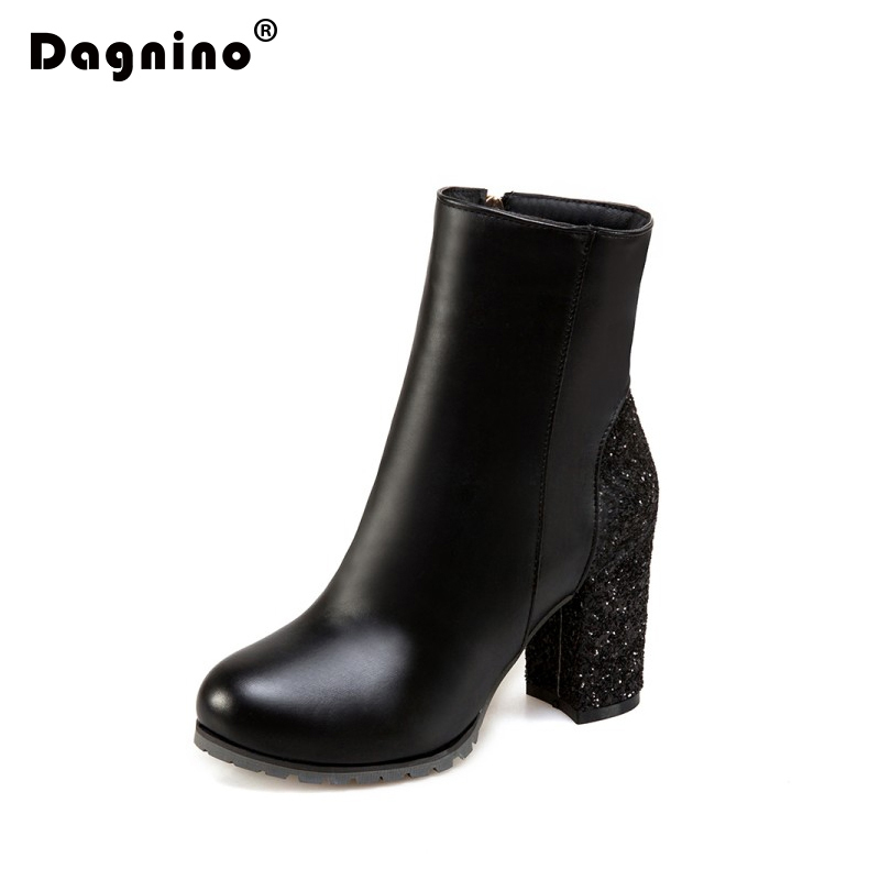 DAGNINO Women Gold High Heel Shoes Round Toe Ankle Boots Fashion Side Zipper Dress Snow Boots Short Plush Winter Big Size 34-46