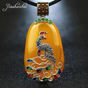 Image 1 - JIASHUNTAI בציר 100% 925 כסף סטרלינג רויאל טבעי אבנים טווס תליון שרשרת תכשיטי נשים רטרו