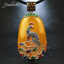 JIASHUNTAI Vintage 100% 925 Silber Sterling Royal Natürliche Steine Pfau Anhänger Halskette Schmuck Für Frauen Retro