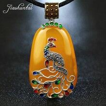 Jiashuntai ヴィンテージ 100% 925 シルバースターリングロイヤル天然石孔雀のペンダントネックレスの宝石レトロ