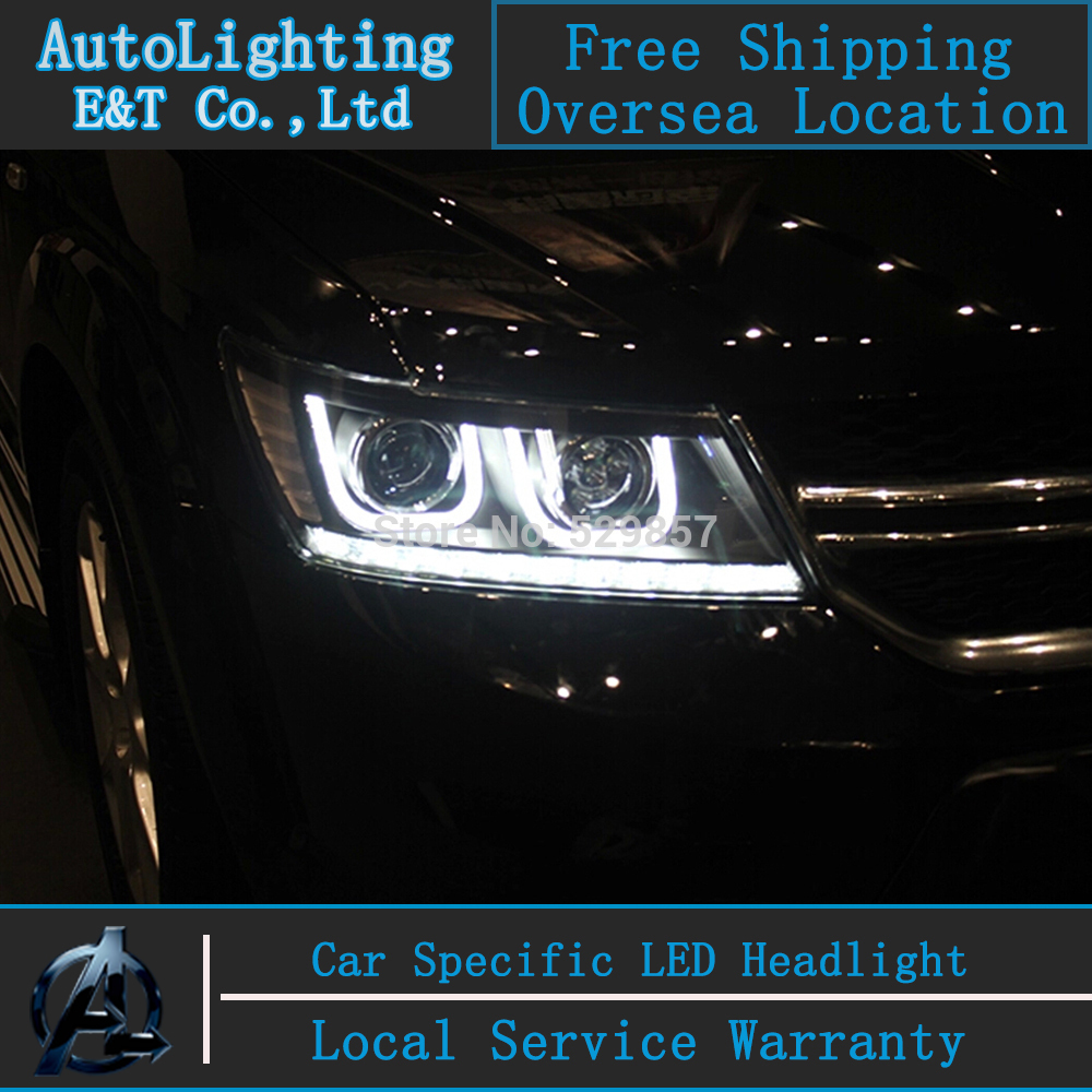 Car Styling FREEMONT LED Head Lamp for FIAT FREEMONT 2009-2014 LED Headlight assembly H7 with hid kit 2 pcs. new arrival canbus p6 car led head lamp conversion kit bulb 4500lm 2 9000lm led headlight super bright 45w 2 90w car styling