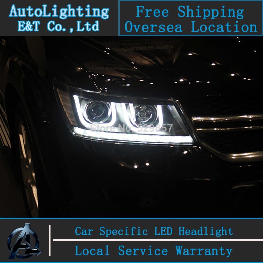 Стайлинга автомобилей ФРИМОНТ светодиодный налобный фонарь для Фиат ФРИМОНТ 2009-2014 сборки светодиодов фары H7 с спрятанный набор 2 шт.
