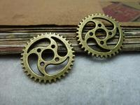 30pcs Wholesale Vintage Jewelry Findings And Components 23mm clock gear charm antique bronze diy making