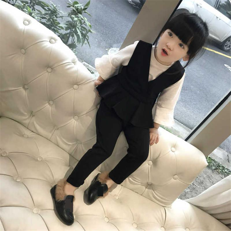 Baby Girls Clothing Sets 2018 Spring O-neck Set for Girl Princess Cotton Vest Tops Pant 3 Pcs Kids Suit Children Clothes 3cs239 autumn winter girls children sets clothing long sleeve o neck pullover cartoon dog sweater short pant suit sets for cute girls