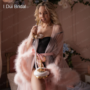 Image 5 - Marabou Robe Blush Pink Feather Bridal Robe Tulle Illusion Wedding Gift Ceremony Party Wear Dressing Gown
