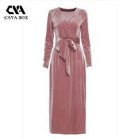 Caya مربع طويلة الأكمام لصق v الرقبة المخملية التفاف اللباس السيدات عارضة الوردي ماكسي فساتين bodycon vestidos النساء الملابس 2017