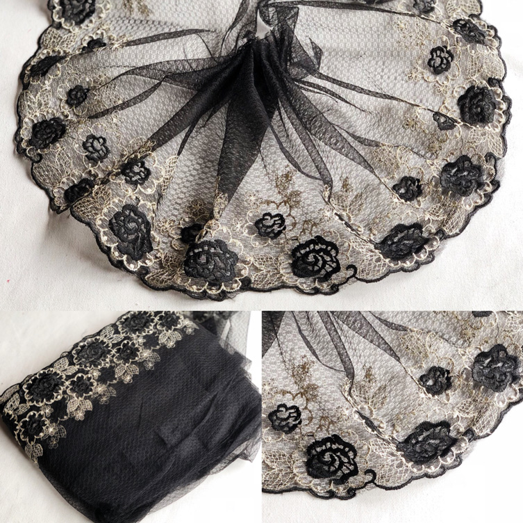 Black Tulle Lace Applique Embroidered Flowers Lace Trim Ribbon Toy Dolls Clothing Sewing Women Dubai Dress Decoration P049