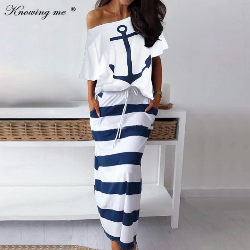 Knowing Me  Women Two Piece Set Dress Hope Boat Anchor Print Top Shirts Striped Ankle-length Dress Sexy Off Shoulder Sets Dress