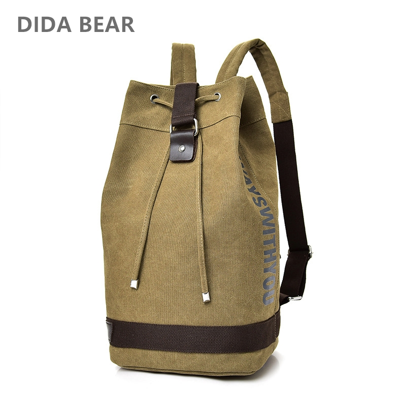 DIDA BEAR New Large capacity Man travel bag mountaineering backpack Men canvas bucket shoulder bags Male Canvas Backpacks Black 100% genuine leather men backpack large capacity man travel bags high quality male business bag for man computer laptop bag