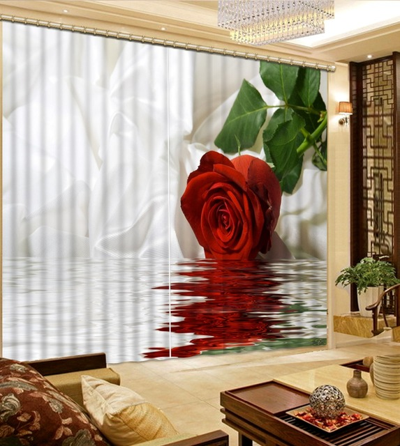 custom 3d cortinas Water reflection Rose 3d living room curtains 3d ...