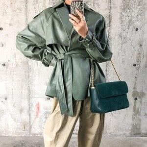 Image 2 - [DEAT] 2020 New Spring Autumn Lapel Long Sleeve Pocket Belt Bandage Loose Personality Leather Jacket Women Coat Tide 10D374