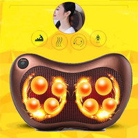 8 Rollers Neck Massager Shoulder Back Leg Body Massage Pillow Electric Infrared Heating Shiatsu Spa Home