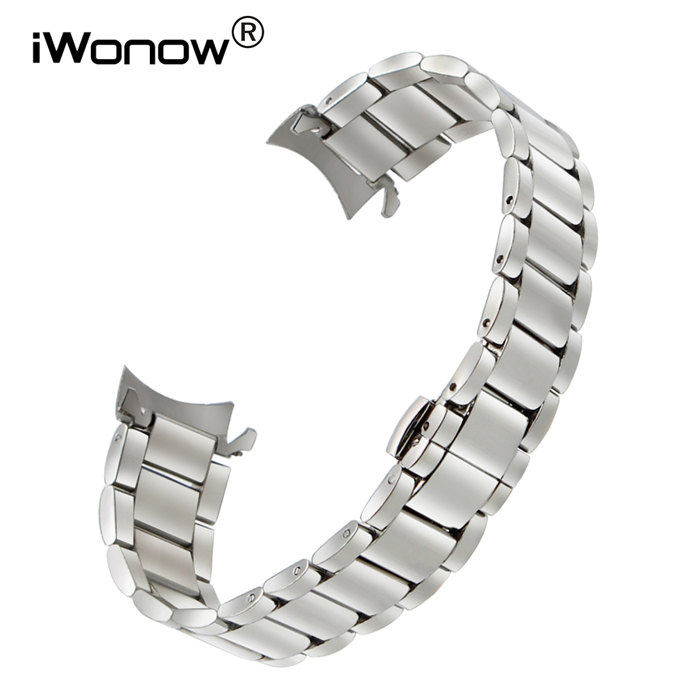 Curved End Stainless Steel Watchband 18/20/22mm for Invicta Bulova Ernest Borel Watch Band Butterfly Buckle Strap Wrist Bracelet wilson ernest rutherford simple genius