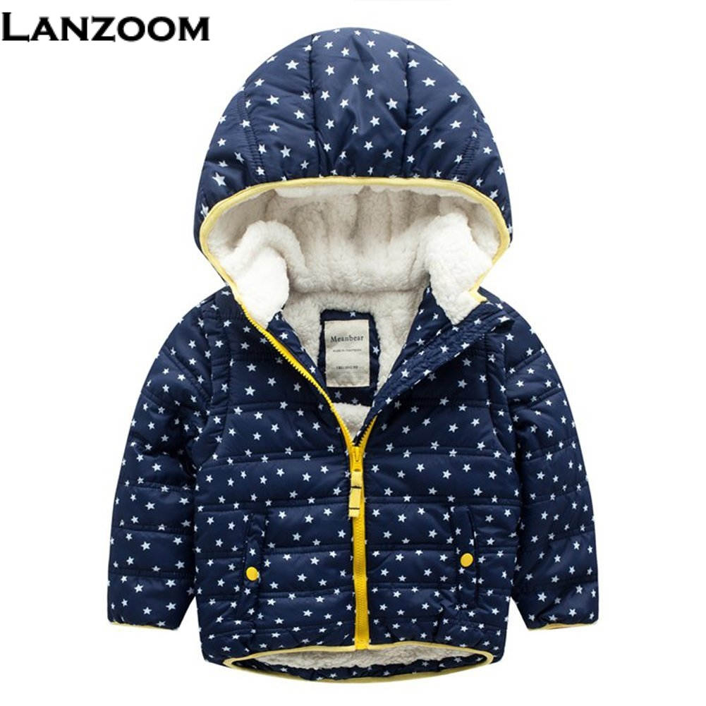 3-7Y Cute Stars Winter Children Coat Parka Hooded Kids Jacket Boys Girls Outerwear Coats Boy Windbreaker Baby Clothes Clothing children winter coats jacket baby boys warm outerwear thickening outdoors kids snow proof coat parkas cotton padded clothes