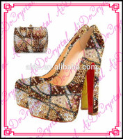Aidocrystal Gold Wedding Crystal Geometric Patterns Women Shoes With Matching Handbag