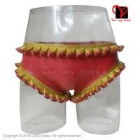 Latex Slips met ruches trims Rubber Underpants Gummi Lingerie knickers ondergoed slipje shorts panty broek ondergoed KZ-038