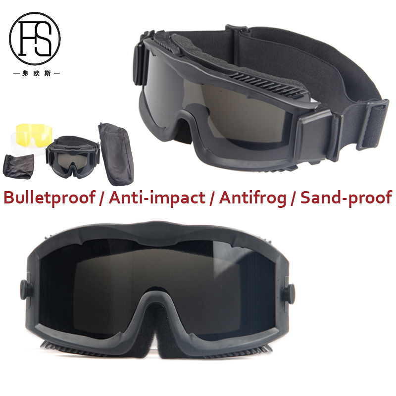 New Style Windproof Cycling Eyewear Anti-fog Tactical Safety Goggles War Game Airsoft Paintball Military Glasses