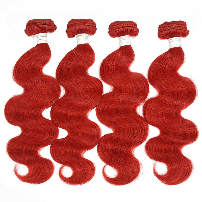 Pinshair Цветные Красные бразильские волосы объемные волнистые пучки с закрытием 4 человеческих волос Плетение бордовые пучки с закрытием не реми волосы