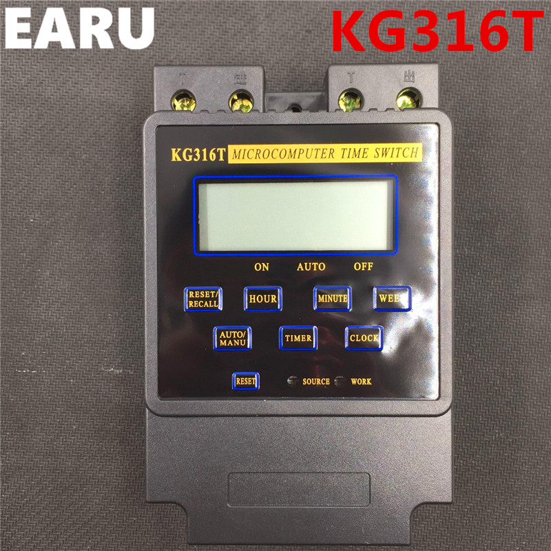 Free Shipping New KG316T 25A Intelligent Microcomputer Programmable Electronic Timer Time Switch Relay Controller AC 220V 380V