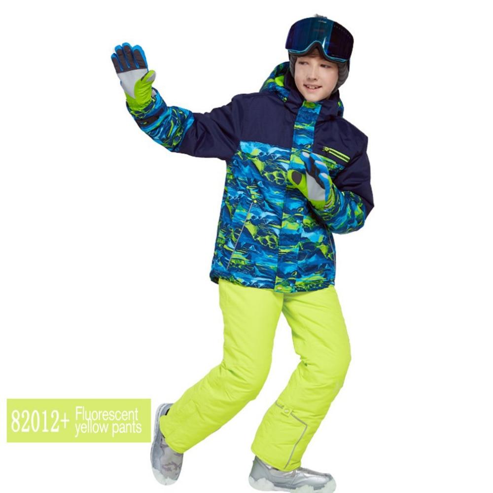 Phibee XXS-XXL Boys/Girls Ski Suit Waterproof Pants+Jacket Set Winter Sports Thickened Clothes Children's Ski Suits Drop Shippin