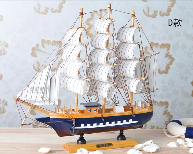 High Quality Wooden Boat Home Decoration Crafts 32*6*30cm Smooth Solid Wood  Ship