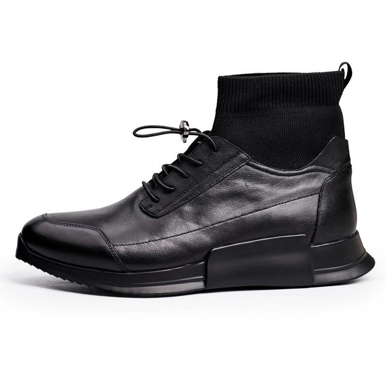 Zapatos de calcetín casuales de hombre de cuero genuino de alta altura de tobillo de deslizamiento en zapatillas de deporte de lujo botas de marca masculina de otoño negro zapatos planos zapatos - 3