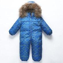 Dollplus 2018 Winter Jumpsuit Newborn Boys Girls Walking Clothing Baby Down Rompers Animal Fur Collar Children Romper 0-3 Years